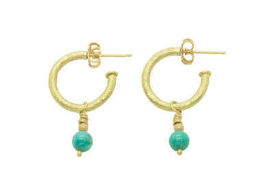 Classic and versatile, softly hammered for a subtle, aged finish, these must-have half-hoop earrings can be worn alone or with gemstone droppers which can be purchased separately to suit any occasion.  Select from Amethyst, Black Obsidian, Pearl, Labradorite, Lapis Lazuli, Malachite, Tourmaline, Tigers Eye, Turquoise and many more - if you have a specific requirement, please contact us.  From £330.00 in sterling silver (with bead droppers), £750.00 in 9ct yellow gold and £1,305 in super-luxe 18ct yellow gold (as pictured).  Additional bead droppers from £35-65 (ref. eg-04)