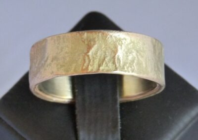 Reticulated 9ct Yellow Gold wedding band.  Reticulation is  a complex and time-consuming process but well worth it for the end result!  Every piece is unique....this ring is for those who really have their own style or love something different.  From £840.00 in 9ct Yellow gold only (ref. rretg9y-02)