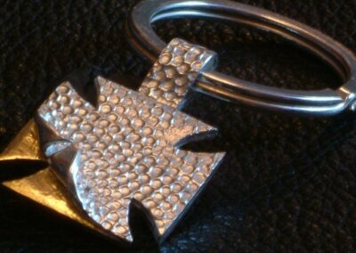 "Sterling silver ""chopper-cross"" keyring with 22ct gold accent for the discerning biker! From £90.00 (ref. keys-02)"